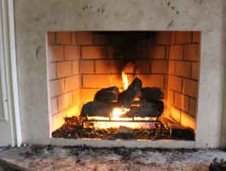Fireplace with flames